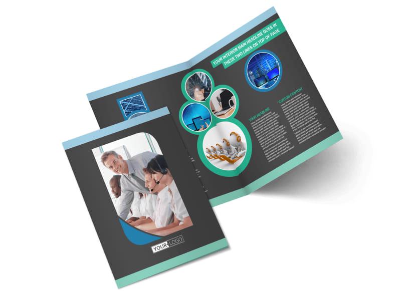 Call Center Service Bi-Fold Brochure Template 2
