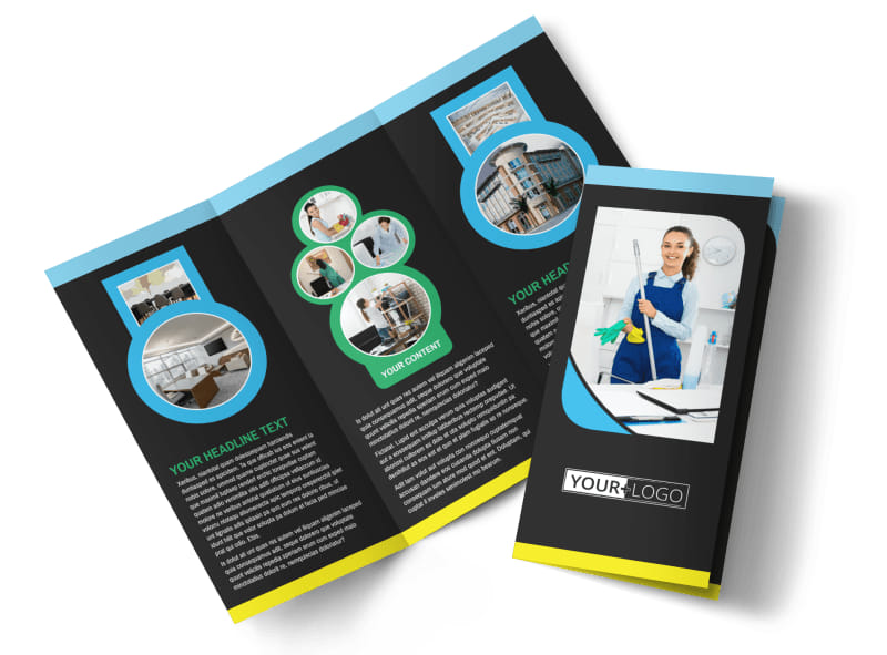 commercial office cleaning tri fold brochure template