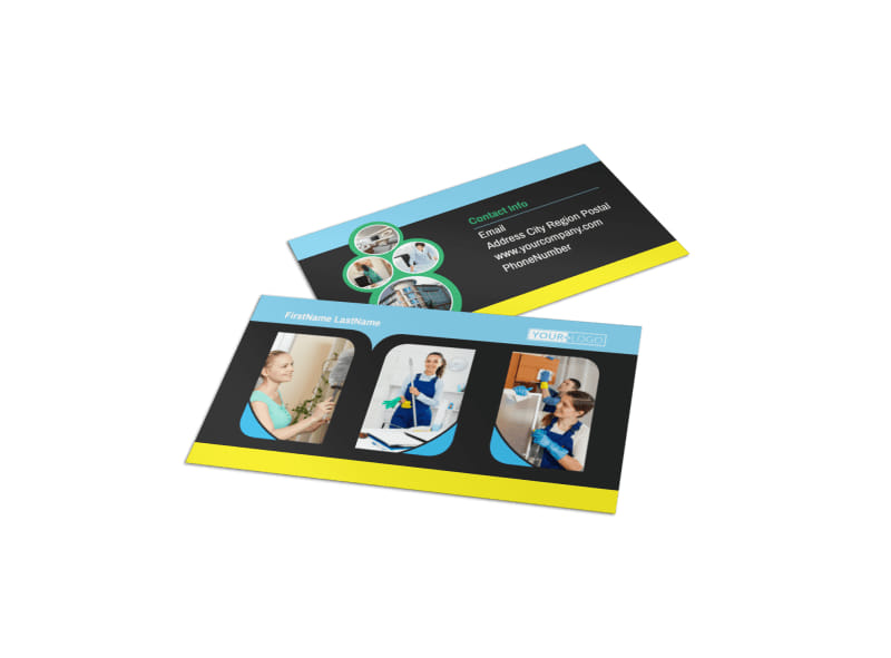 Commercial Cleaning Service Business Card Template Preview 4