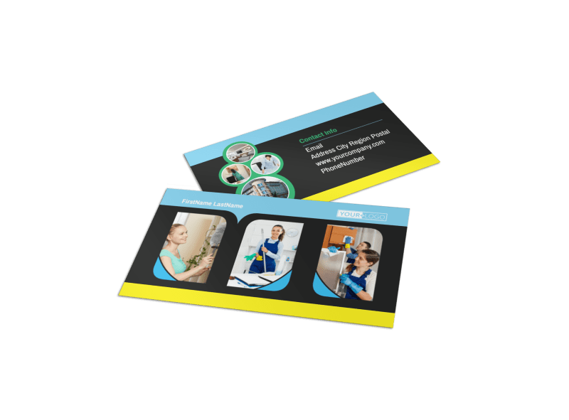Commercial Cleaning Service Business Card Template Preview 1