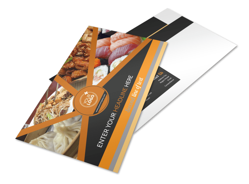 Asian Fusion Restaurant Postcard Template Preview 1