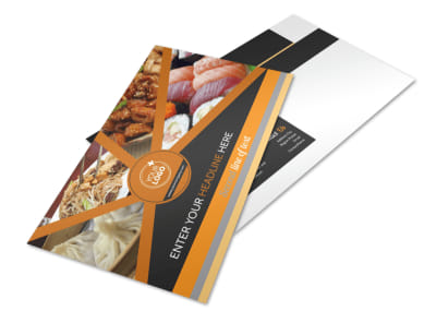 Asian Fusion Restaurant Postcard Template preview