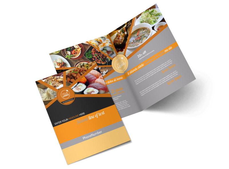 Asian Fusion Restaurant Bi-Fold Brochure Template 2
