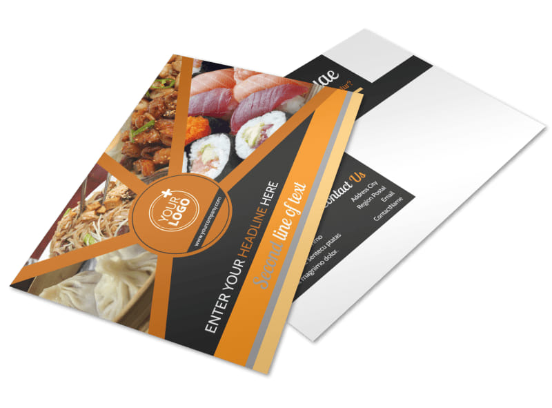 Asian Fusion Restaurant Postcard Template 2