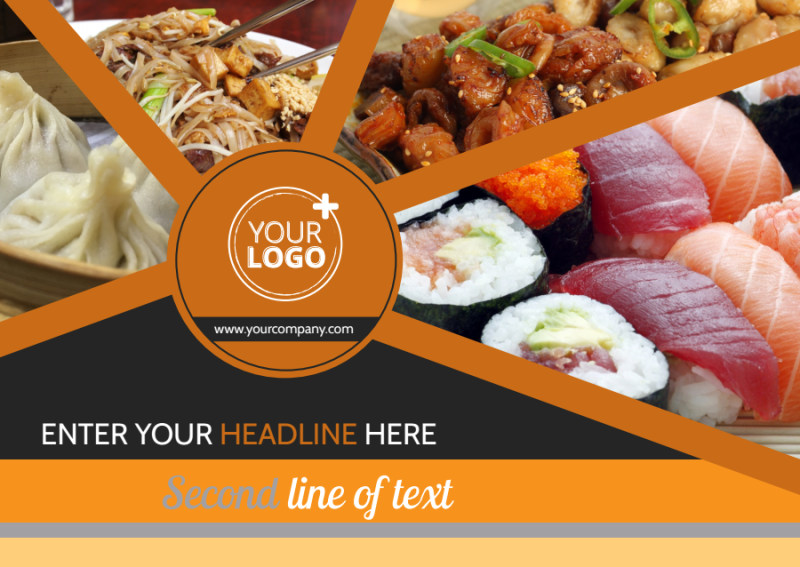 Asian Fusion Restaurant Postcard Template Preview 2