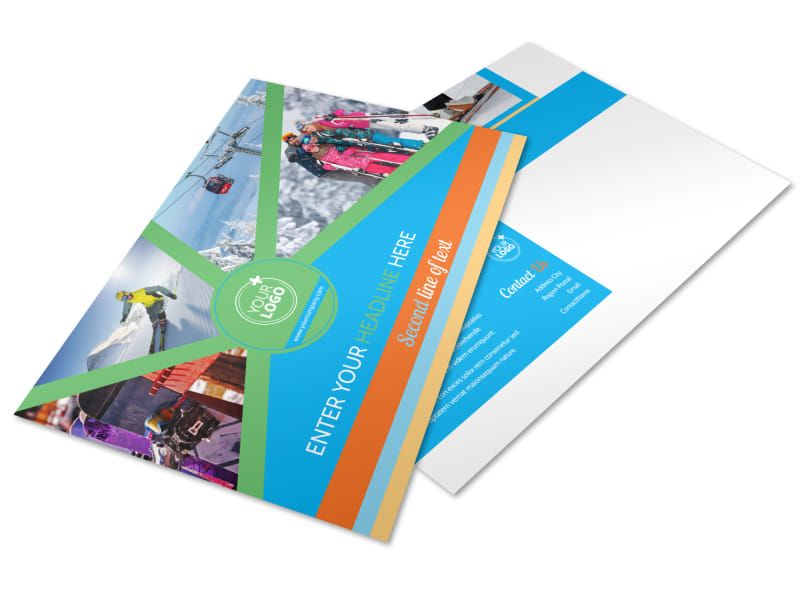 Ski Equipment Postcard Template