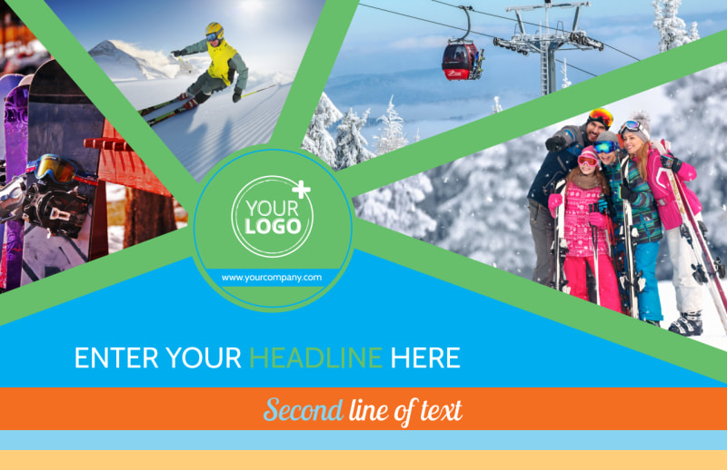 Ski Equipment Postcard Template Preview 2