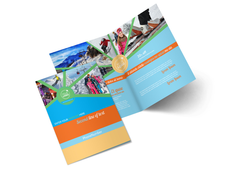 Ski Equipment Bi-Fold Brochure Template 2