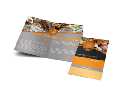 Asian Fusion Restaurant Bi-Fold Brochure Template