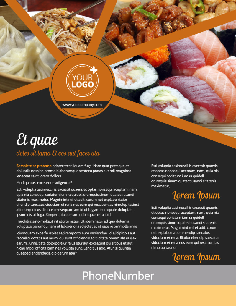 Asian Fusion Restaurant Flyer Template Preview 2