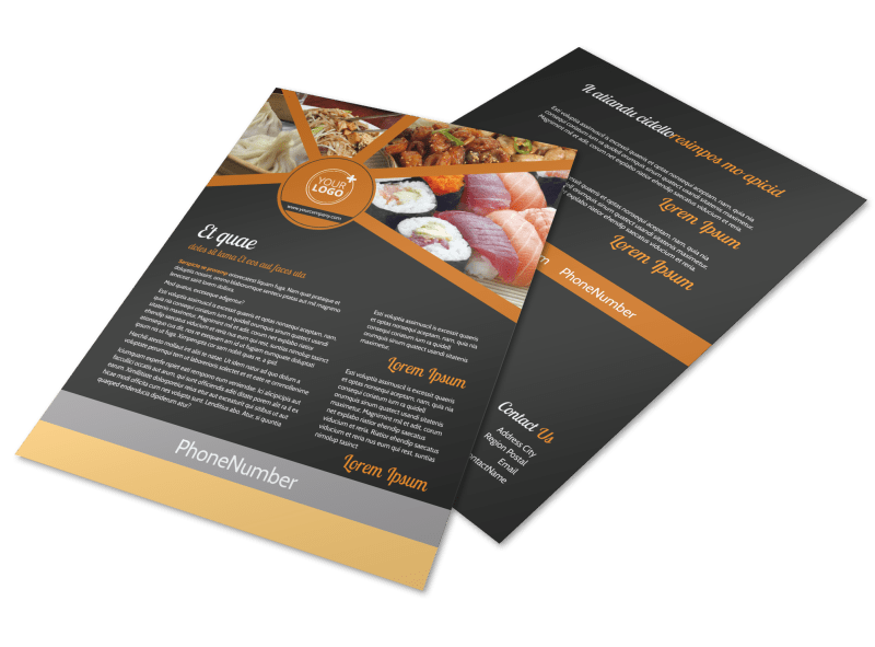 Asian Fusion Restaurant Flyer Template Preview 1