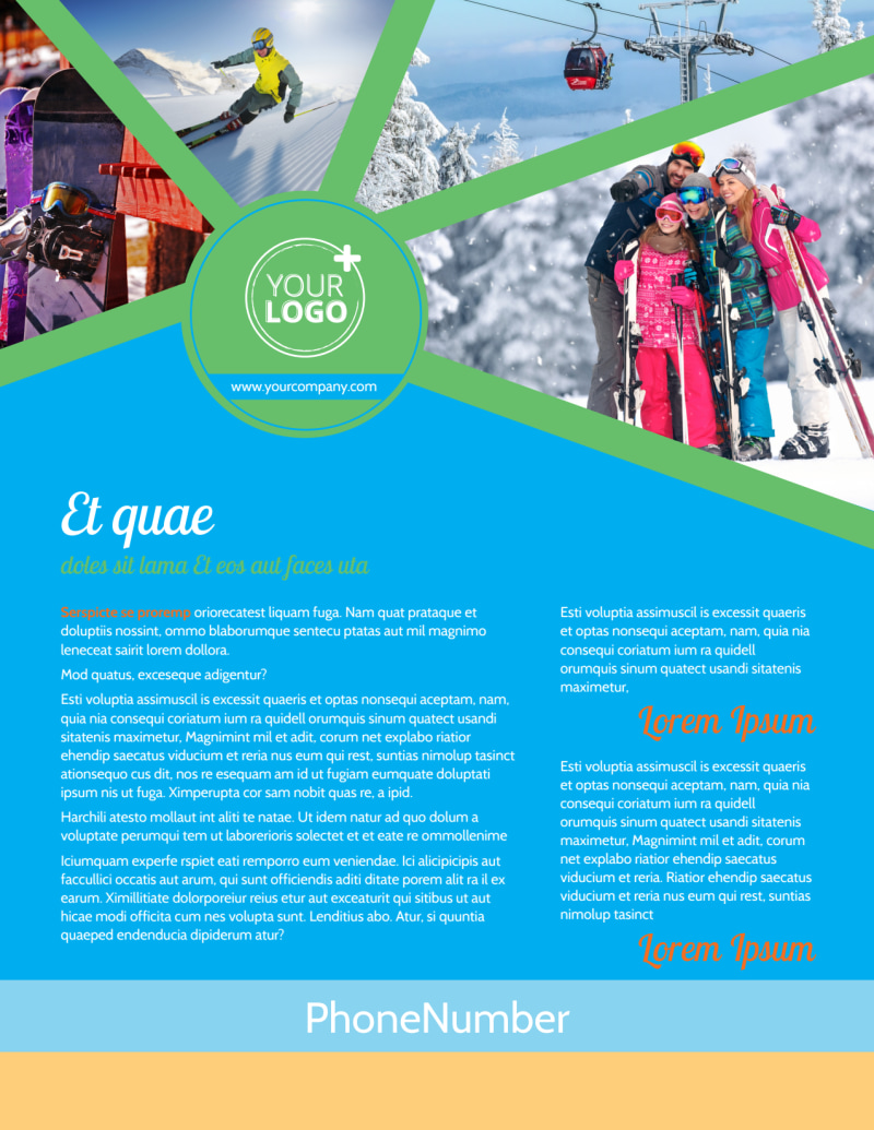 Ski Equipment Flyer Template Preview 2
