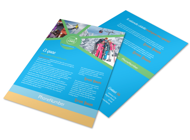 Ski Equipment Flyer Template Preview 1
