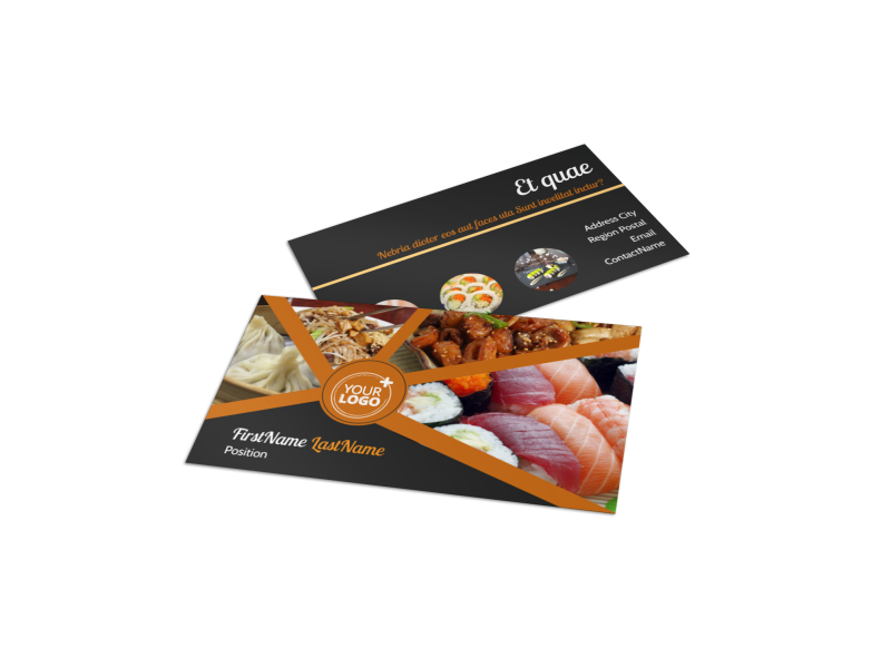 Asian Fusion Restaurant Business Card Template Preview 1