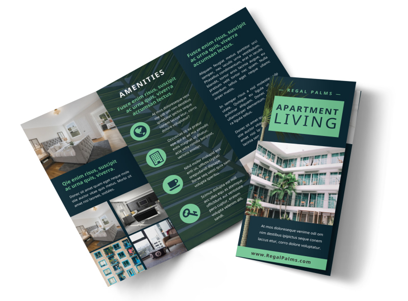 Apartment living brochure template mycreativeshop for Templates for tri fold brochures
