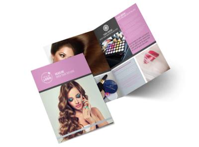 Professional Makeup Artist Bi-Fold Brochure Template 2