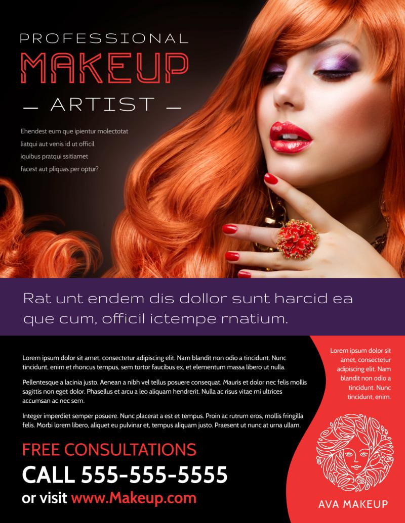 professional makeup artist flyer template