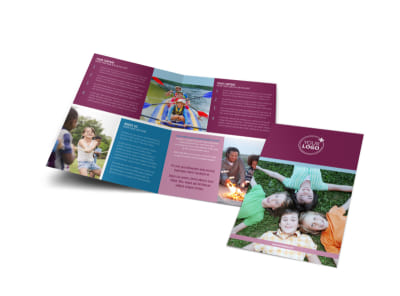 Outdoor Summer Camp Bi-Fold Brochure Template preview