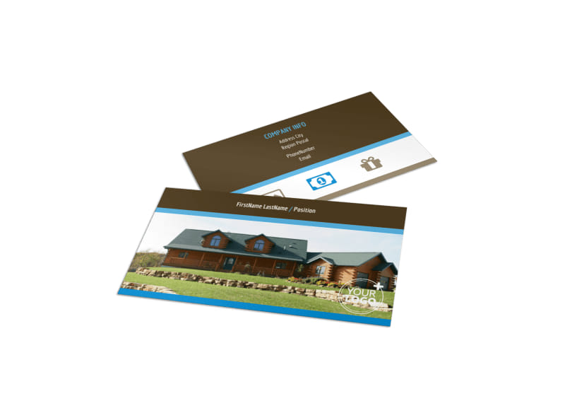 Log & Timber Frame Homes Business Card Template