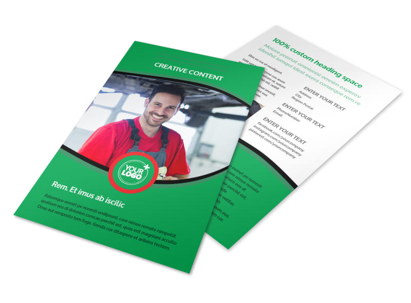 Oil Change Service Flyer Template 3