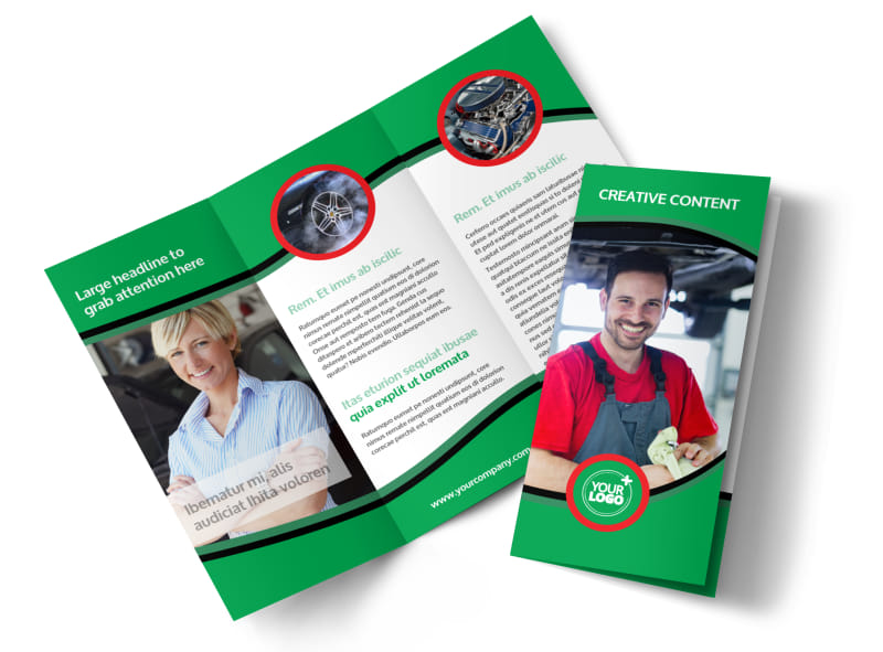 Oil Change Service Tri-Fold Brochure Template