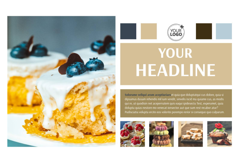Fine Pastries Catering Postcard Template Preview 2
