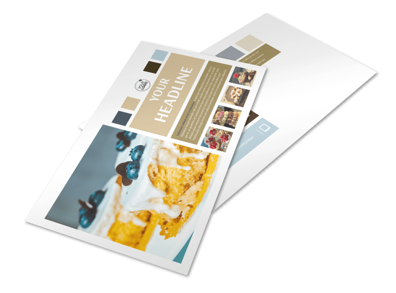 Fine Pastries Catering Postcard Template Preview 1