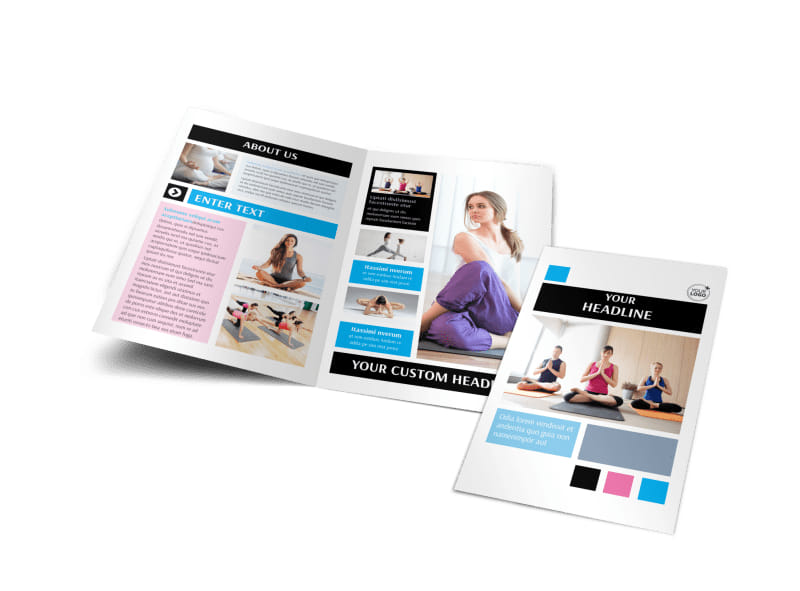 Yoga pilates instruction meditation studio brochure for Instruction leaflet template