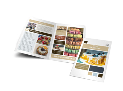 Fine Pastries Catering Bi-Fold Brochure Template preview