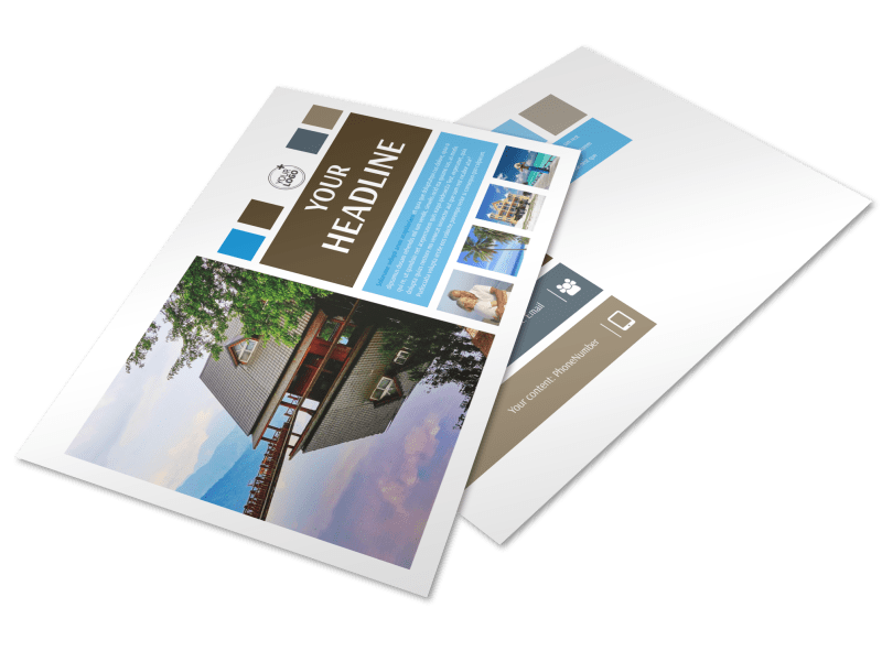 Sunny Villa Rental Postcard Template Preview 1