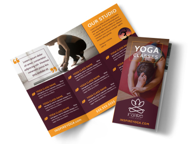 Yoga Instructor & Studio Tri-Fold Brochure Template preview