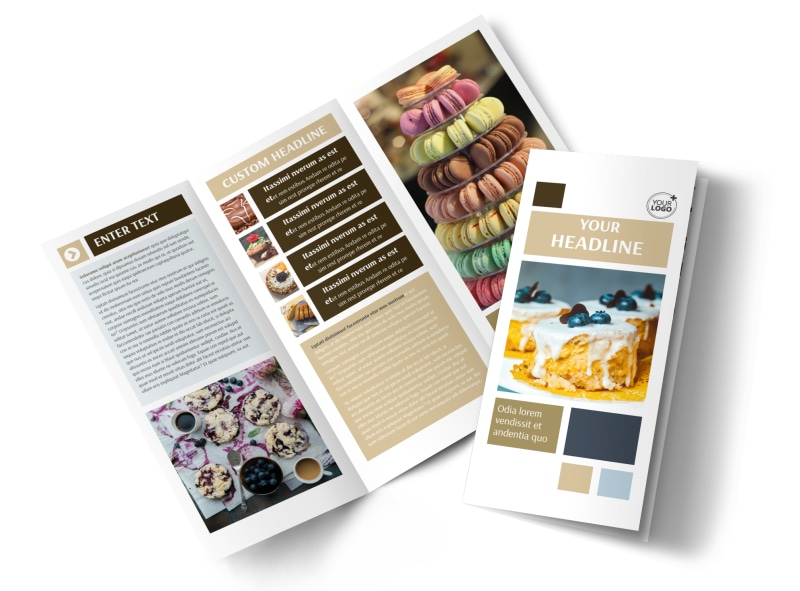 Fine Pastries Catering Tri-Fold Brochure Template