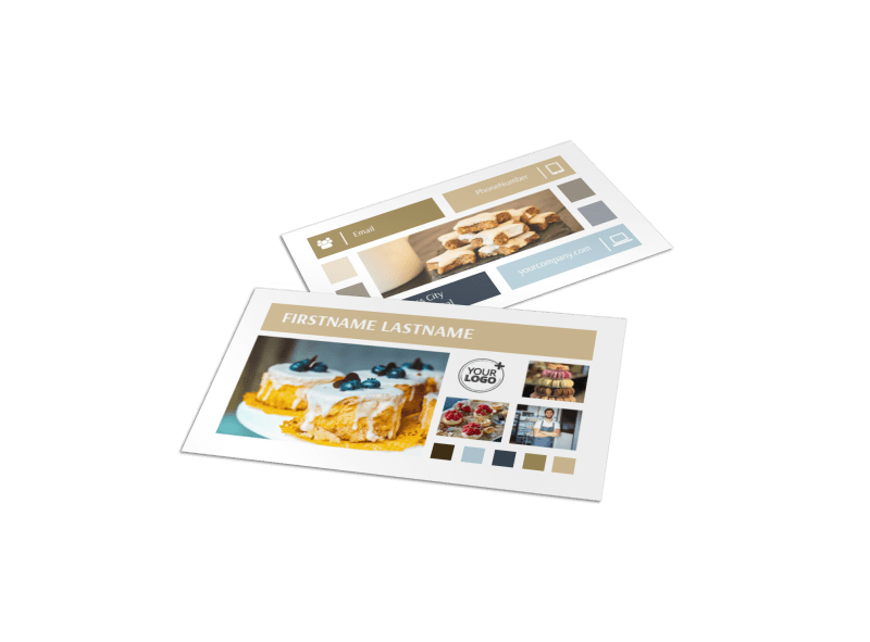 Fine Pastries Catering Business Card Template Preview 1