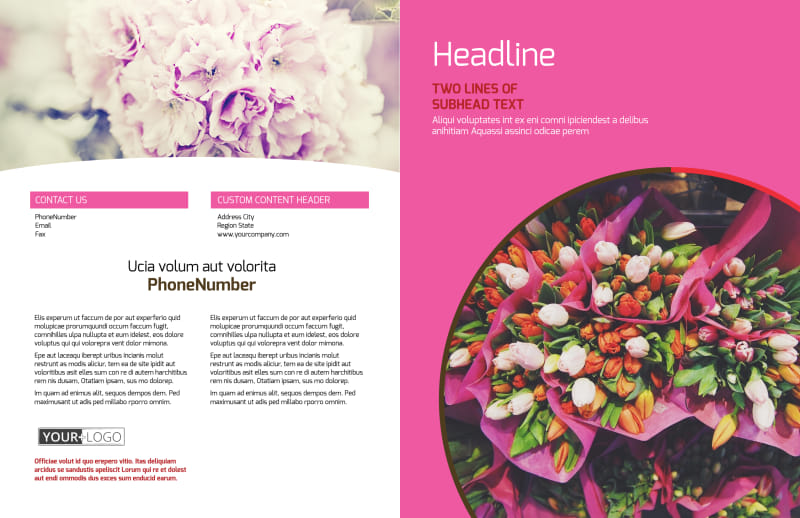 Florists & Flower Delivery Service Brochure Template Preview 2