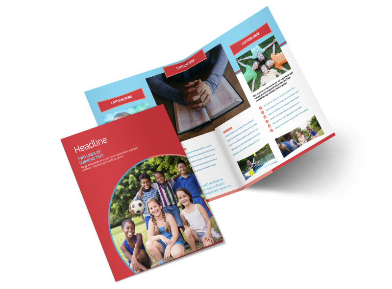 Christian Summer Camp Bi-Fold Brochure Template 2
