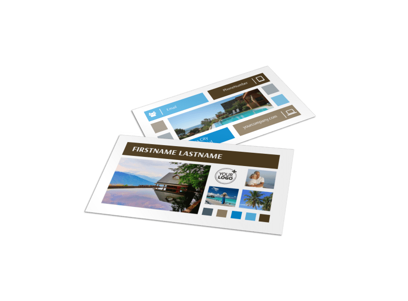 Sunny Villa Rental Business Card Template Preview 1
