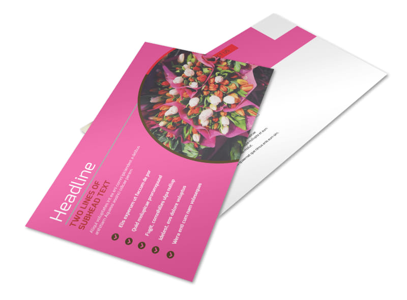 Florists & Flower Delivery Service Postcard Template Preview 4