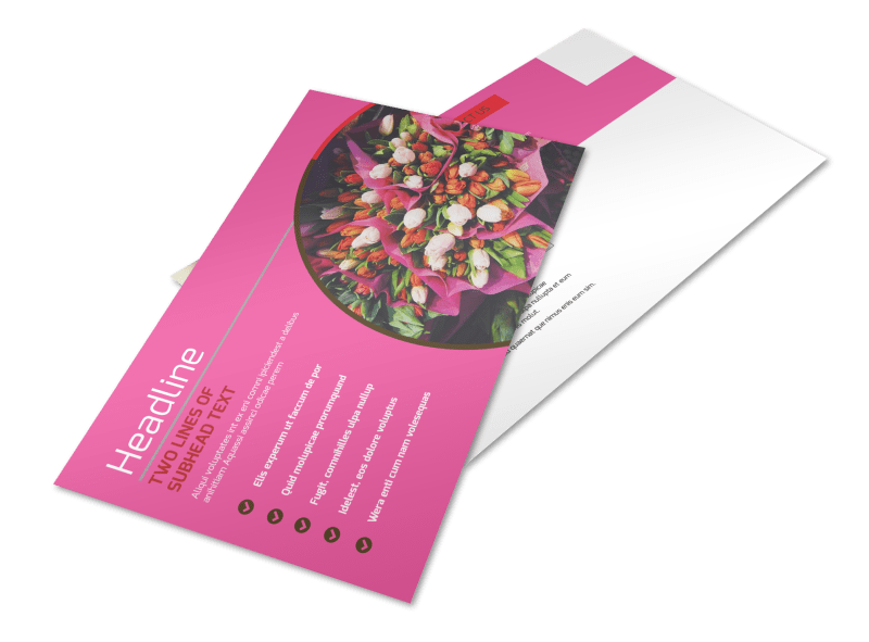 Florists & Flower Delivery Service Postcard Template Preview 1