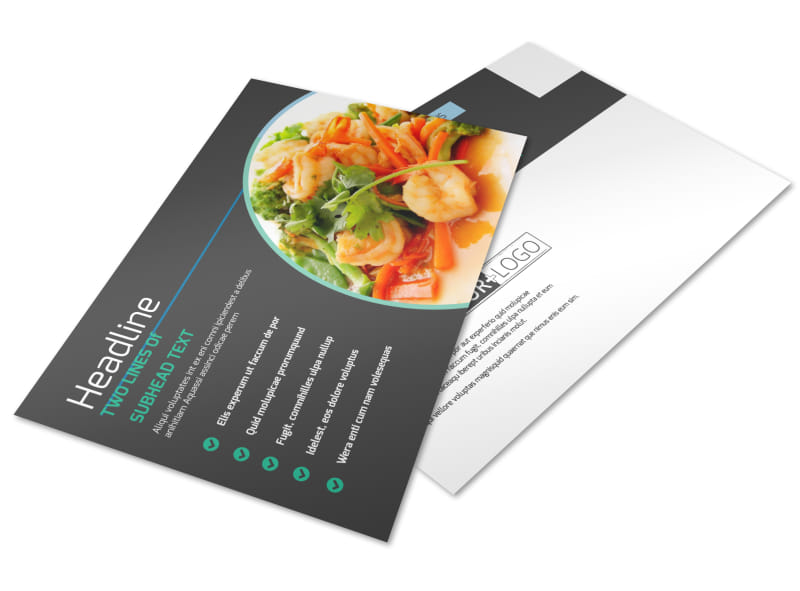 Fine Dining Catering Postcard Template Preview 4