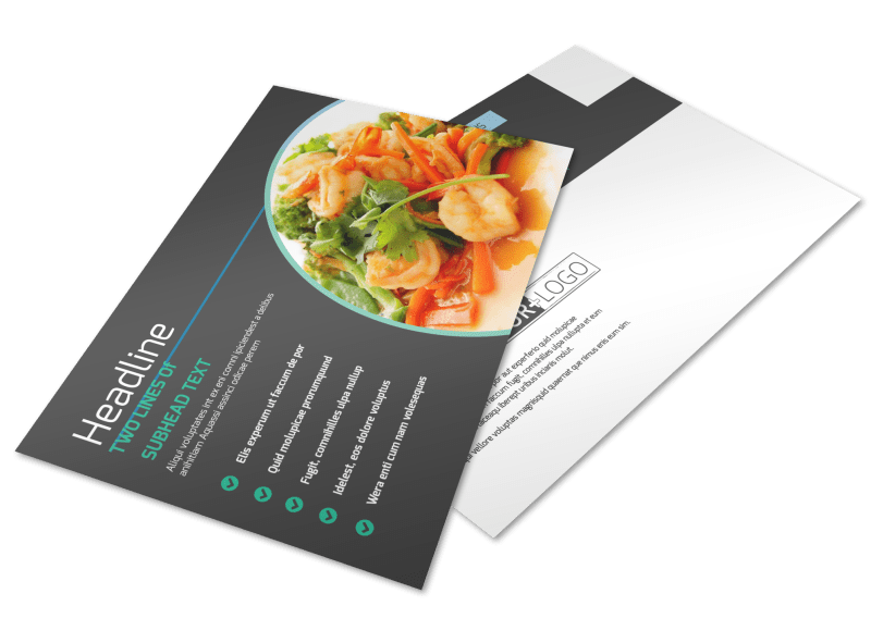 Fine Dining Catering Postcard Template Preview 1