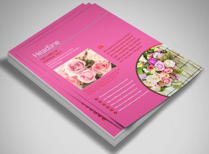 florist  flower shop trifold business flyer templates