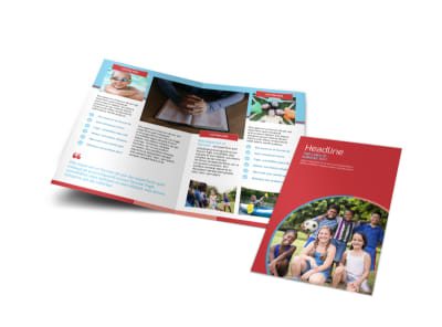 Christian Summer Camp Bi-Fold Brochure Template preview