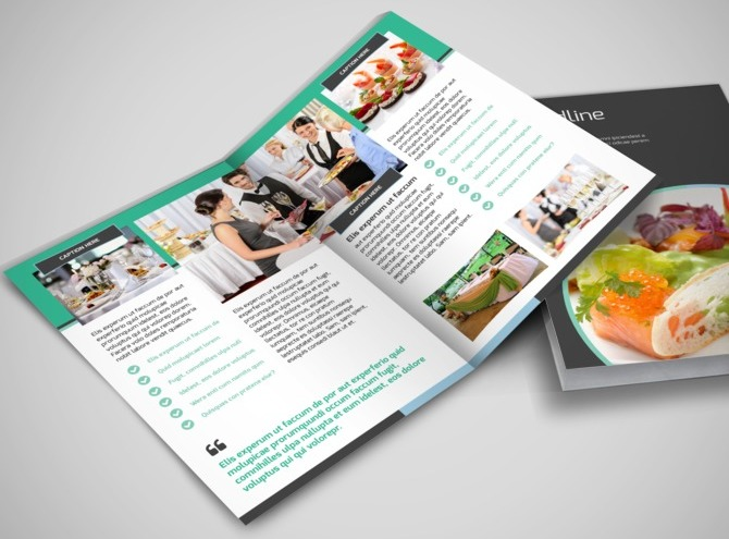 Fine dining catering bi fold brochure template for Catering brochure templates