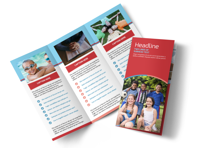 Christian Summer Camp Brochure Template Preview 1