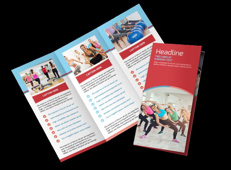 Adult Aerobics Class Brochure Template Preview 1