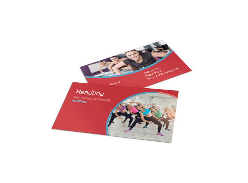 Adult Aerobics Class Business Card Template Preview 4