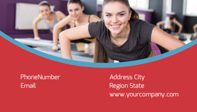 Adult Aerobics Class Business Card Template Preview 3