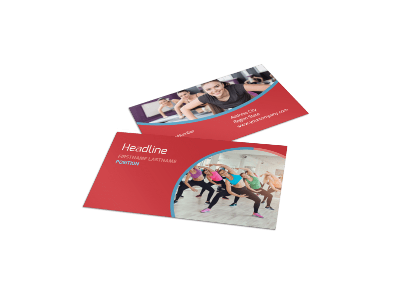 Adult Aerobics Class Business Card Template Preview 1