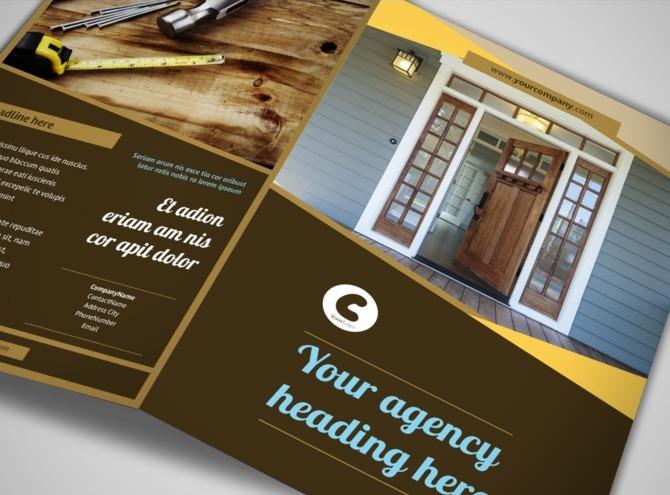 Window Amp Door Repair Bi Fold Brochure Template