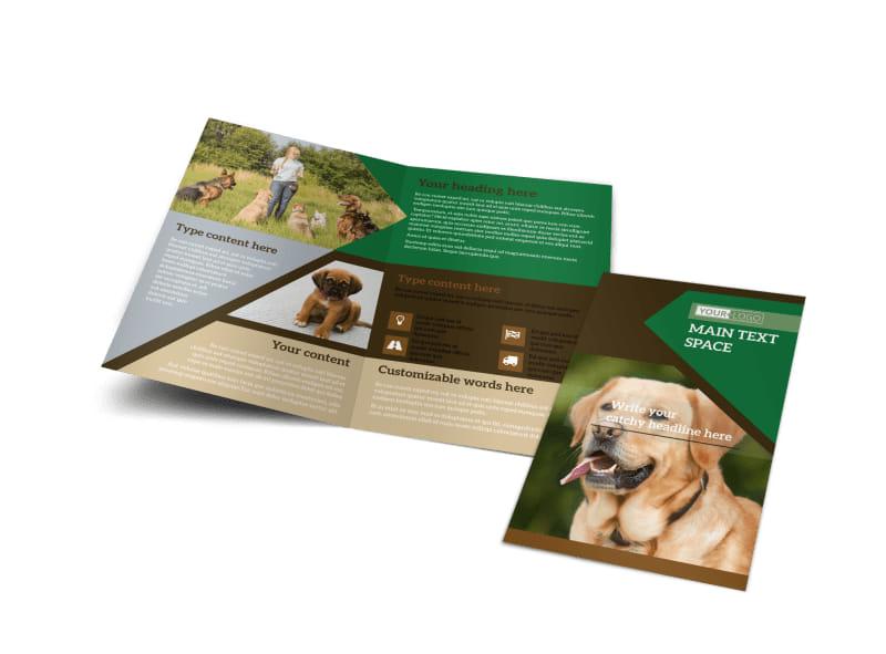 Dog Kennel & Pet Day Care Bi-Fold Brochure Template